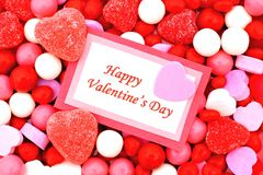 Happy Valentines Day. Card on candy background Royalty Free Stock Photography