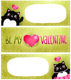 Happy Valentines Day card with cat Royalty Free Stock Image