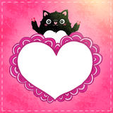 Happy Valentines Day card with cat Stock Photos