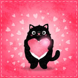 Happy Valentines day card with cat and heart Stock Photo