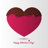 Happy Valentines Day card. Chocolate heart. Vector Stock Photos