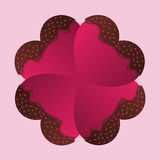 Happy Valentines Day card. Chocolate hearts. Vector Stock Image