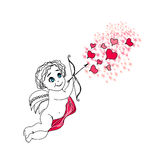 Happy valentines day card with cupid Stock Photo