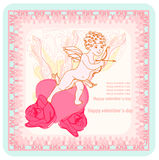 Happy valentines day card with cupid Royalty Free Stock Photography