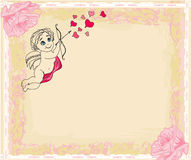 Happy valentines day card with cupids Stock Photo