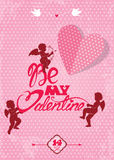 Happy Valentines Day card with cute angels and heart on polka do Royalty Free Stock Image
