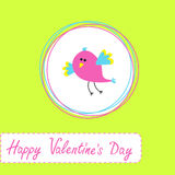 Happy Valentines Day card  with cute bird Stock Photography