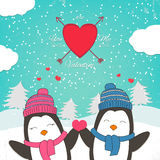 Happy Valentines Day card with cute couple penguin. Happy Valentines Day card with cute penguin couple. Vector illustration Royalty Free Stock Images