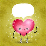 Happy Valentines day card with cute heart Stock Image