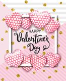 Happy Valentines day card with cute pink heart balloons. Template for background, poster, advertising, sale, postcard Stock Photos