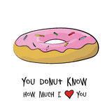 Happy valentines day card. Donut concept isolated Stock Photos