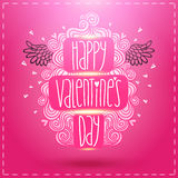 Happy Valentines Day card with doodles. Stock Images