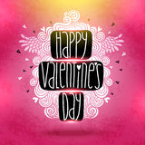 Happy Valentines Day card with doodles. Royalty Free Stock Photography