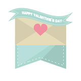 Happy valentines day card envelope blue ribbon heart. Vector illustration eps 10 Stock Image