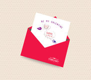 Happy valentines day card with envelope bubble and bird Stock Photos