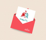 Happy valentines day card with envelope heart and bird Stock Photography