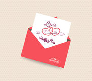 Happy valentines day card with envelope heart Royalty Free Stock Photography