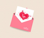 Happy valentines day card with envelope heart Royalty Free Stock Image