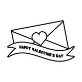 Happy valentines day card envelope ribbon heart outline Stock Photo