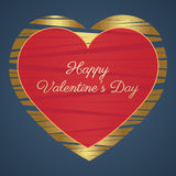 Happy Valentines Day Card (14 February). Hearts, Gold and red on a blue background. Vector illustration Stock Image