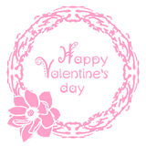 Happy valentines day card with floral round frame Royalty Free Stock Image