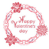 Happy valentines day card with floral round frame Royalty Free Stock Photo
