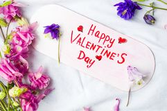 Happy Valentines day card with flowers on white Royalty Free Stock Photo