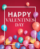 Happy valentines day card with flying balloons and white frame. Stock Photography