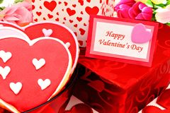 Happy Valentines Day. Card with gift boxes and heart shaped cookies Royalty Free Stock Photos