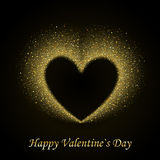 Happy Valentines Day Card with Gold Glittering Stock Image