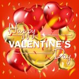 Happy Valentines Day card with the gold and red foil heart shape balloons. And colored confetti in air. Vector template for Valentines Day, birthday, night royalty free stock photos