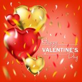 Happy Valentines Day card with the gold and red foil heart shape balloons. And colored confetti in air. Vector template for Valentines Day, birthday, night royalty free stock photo