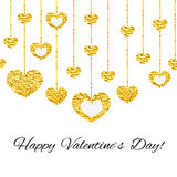 Happy valentines day card with golden glitter heart seamless garland  on white background. Art vector illustration Royalty Free Stock Photo