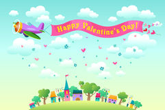 Happy Valentines day card. Happy Valentines day card with greetings ribbon tied to aircraft flying over the city Stock Photo