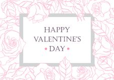 Happy Valentines Day card with hand drawn botanical rose Stock Image