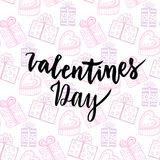 Happy Valentines Day card. Handwritten vector design. Gifts seamless pattern Royalty Free Stock Photography