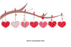 Happy Valentines Day card with hanging Love Valentines heart vector illustration background Stock Photo