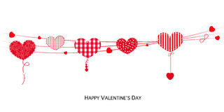 Happy Valentines Day card with hanging Love Valentines hearts banner vector Royalty Free Stock Photo