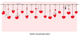 Happy Valentines Day card with hanging Love Valentines hearts banner vector Stock Images
