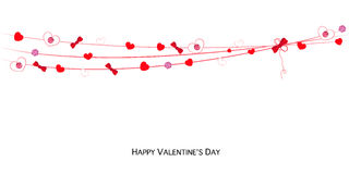 Happy Valentines Day card with hanging Love Valentines hearts banner vector Royalty Free Stock Images