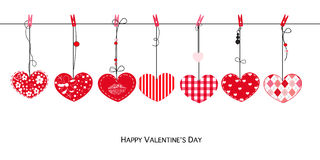 Happy Valentines Day card with hanging Love Valentines hearts vector Stock Photo