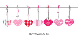 Happy Valentines Day card with hanging Love Valentines hearts vector Stock Images