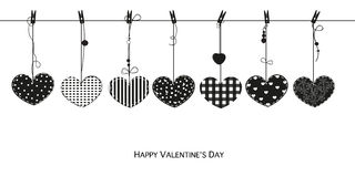Happy Valentines Day card with hanging Love Valentines hearts vector illustration Stock Image