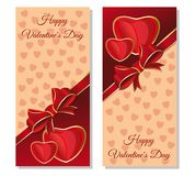 Happy Valentines Day card. Festive red and beige background with hearts and design elements for Valentine Day. Vector illustration Stock Image
