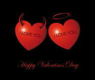 Happy Valentine's Day Card/ Heart Angel and Demon Royalty Free Stock Image