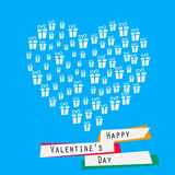 Happy valentines day card with heart of gifts boxes. Royalty Free Stock Photography