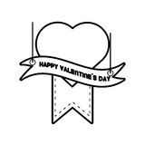 Happy valentines day card heart hanging ribbon line. Vector illustration eps 10 Royalty Free Stock Image