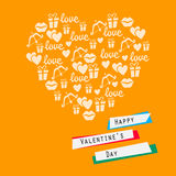 Happy valentines day card. heart with symbols of love. Vector illustration Stock Photo