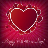 Happy Valentines Day card with heart. Vector. Illustration Stock Images