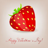 Happy Valentines Day card with heart. Vector. Happy Valentines Day card with strawberry heart. Vector illustration Royalty Free Stock Image